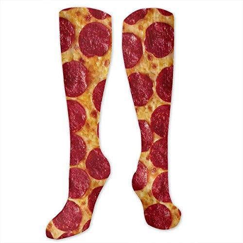 ge Pizza Women&Men Socks Dress Socks Length 19.7in/Width 3.4in Polyester Material Knee High Socks Girls Socks Mid Stockings Personality Socks ()