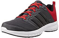 adidas Mens Solonyx M Dark Grey, Black and Red Mesh Running Shoes - 7 UK
