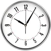 Orologio analogico da parete radiocontrollato bianco con cornice in alluminio 29,5 cm - Radiocontrollato Orologio Da Parete Analogico