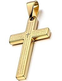 Oidea Bijoux Pendentif Croix Collier Homme Chaîne 54cm Bible Prière Chrétienne Acier Inoxydable pour Homme et Femme Cadeau Noël Couleur Optionnel