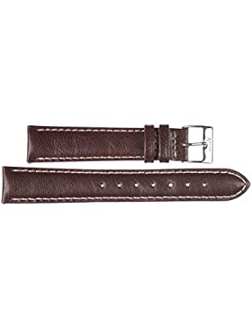 20 mm KAISER Uhren Lederband Uhrenarmband Lederuhrband Braun 20 mm Schliesse: weiss