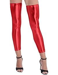 TiaoBug Femme 1 Paire Jambières Érotique Sexy Bas en Cuir Verni Guêtre  Legging Longue Chausettes Collants 5397f828c2e9