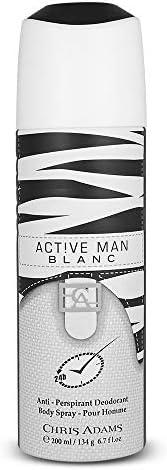 Chris Adams Perfumes Active Man Blanc Pour Homme Deodorant For Men, 200 ml