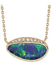 Celine d'Aoust Damen-Kette Roségold 14 k (585) Opal Mehrfarbig Triangelschliff 40cm