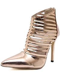 Sandalias romanas del metal del dedo del pie acentuado del estilete del tacón alto de la