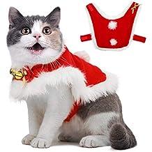 OWUDE Traje de Capa de Navidad para Mascotas con Campanas, Tela Suave y Gruesa,