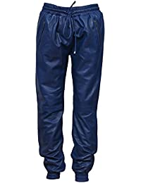 c43893b7e97e21 Smart Range Herren Blau 3040 Napa Weiches Echtes Leder Hose Sweat Track  Pant Zip Jogging unten