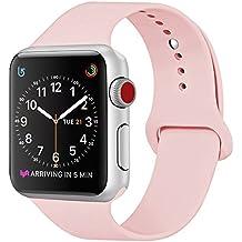 ZRO pour Apple Watch Bracelet, Silicone Souple Remplacement Sport Bande pour 38mm iWatch Série 3/ Série 2/ Série 1, Taille S/M, Vintage Rose