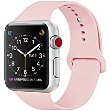 ZRO para Apple Watch Correa, Silicona Suave Reemplazo Sport Banda para 38mm iWatch Serie 3/ Serie 2/ Serie 1, Talla S/M, Rosa Vendimia