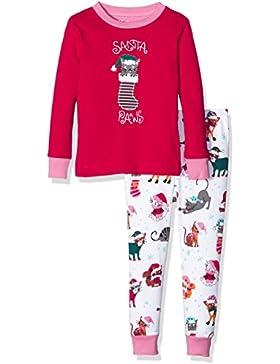Hatley Mädchen Zweiteiliger Schlafanzug Pj (App) -Cats-Santa Paws