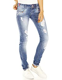 Bestyledberlin Damen Jeans, Used Look Hüftjeans Slim Fit, Destroyed Style Stretch Jeanshosen zerissen j31i