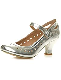 72be2de41ed Womens Ladies mid Heel Cut Out Heart Vintage Mary Jane Strap pin up 50s 60s  Court