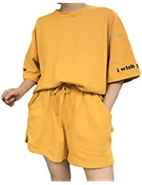Donna Tute da Ginnastica Estive Elegante Manica Corta Cute Chic Collo Larghi  T-Shirt E Vita Alta Shorts Pantaloncini… 1979d723702