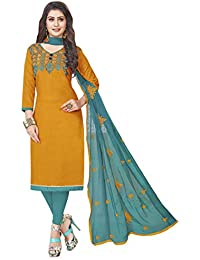 Amazon In Gold Dress Material Ethnic Wear Clothing Accessories
