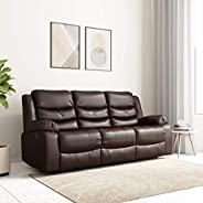 Amazon Brand - Solimo Delphi Three Seater Leatherette Recliner (Brown)
