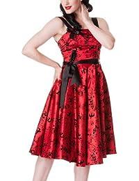 Hell Bunny - Tattoo - Vestido de fiesta - Estilo rockabilly años 50 - Rojo
