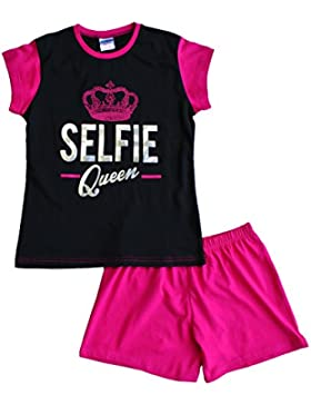 ThePyjamaFactory Mädchen Schlafanzug rosa rose Medium