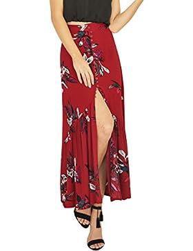 Simplee Apparel Las mujeres de cintura alta frente del boton floral print Boho maxi falda de hendidura playa de...