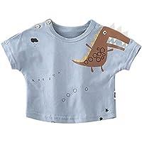 HK Camisa de cocodrilo de los Niños de Verano de Marea Infantil de Manga Corta Cuello Redondo Que Basa la Camisa,Azul Claro,90cm