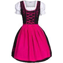 Dirndl 3 pezzi, vestito Dirndl, camicia, gonna, formato 34-46 nero / rosa