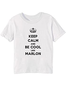 Keep Calm And Be Cool Like Marlon Bambini Unisex Ragazzi Ragazze T-Shirt Maglietta Bianco Maniche Corte Tutti...