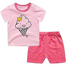 2 piezas bebé niña niño ropa de dibujos animados de manga corta camiseta + pantalones cortos 1-5 años de edad
