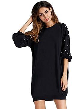 ROMWE Damen Elegant Sweatshirt Kleid mit Perlen Raglanärmel Lockeres Lässiges Kleider