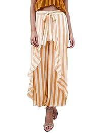 b56244cfaeb9f Falda Pantalon Mujer Estilo Flecos Elegante Largo Verano Simple Cintura Alta  Volantes Culotte Pantalones Palazzo Strappy