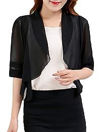 Femme boléro en mousseline 1/2 Manches transparent veste étole châle de soie