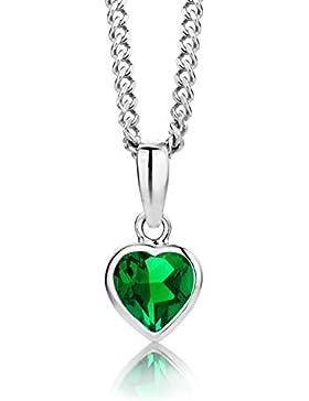 ByJoy Damen-Kette Mit Anhänger 925 Sterling- Silber Herzschliff Grün Smaragd 45cm