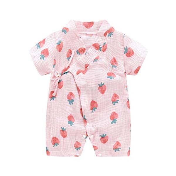 MAYOGO Bebé ReciéN Nacido Kimono Bata Estampado Bebé NiñO Manga Corta V-Cuello Verano Mono Pijama Correa Bebé niño… 3