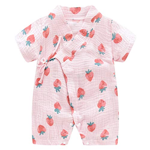 Alwayswin Neugeborene Baby Jungen Mädchen Garn Robe Kimono Strampler Overall Nachtwäsche Kleidung Mode Kurzarm Spielanzug Schlafanzug Lässige Lose Romper Drucken Frisch Bodysuit