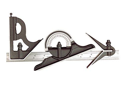 Starrett 435ME-300 Quadratt aus Gusseisen, mittlere und reversible Winkelmesser-Köpfe mit reguläres Klinge-Kombination Set; schwarzes Schrumpf-Finish; Größe: 300mm