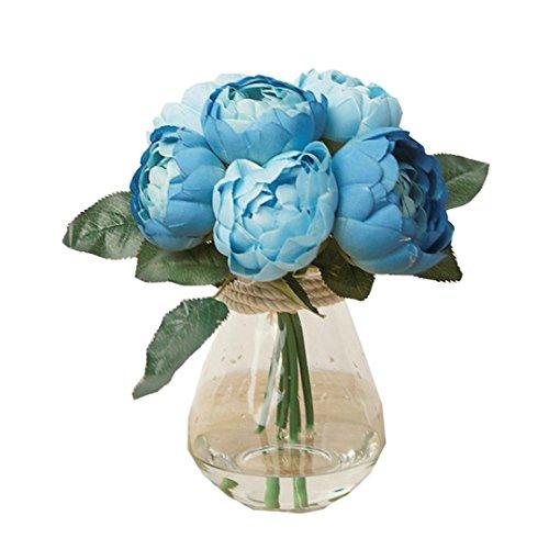 Mitlfuny Unechte Blumen Künstliche 1 Bouquet 6 Köpfe Künstliche Pfingstrose Seidenblume Blatt Blume Brautstrauß Hochzeitsfeier Home Decor (Blau) (Blaue Hortensie Brautstrauß)