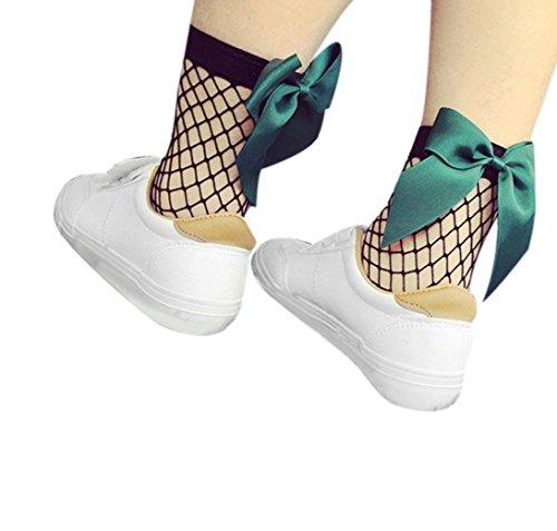 HARRYSTORE Frauen Rüsche Fishnet Knöchel Hohe Socken Mesh Spitze Bow-Knoten Fisch Netz Kurze Socken (Grün) -