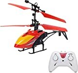 Gencliq Kids Induction Type 2-in-1 Flying Indoor Helicopter with Remote (Red, Medium)
