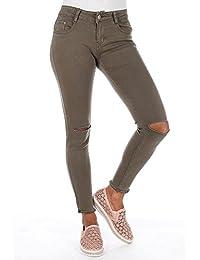 Ideal Shoes - Jean skinny kaki déchiré Joelana