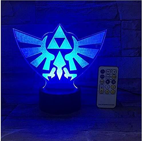 ZHAOHH The Legend of Zelda Dreieck 3D USB Led Nachtlicht 7 Farben Illusion Lampe Touch Oder Fernbedienung Kinder Wohnzimmer Schlafzimmer Schreibtischlampe, 80X100cm -