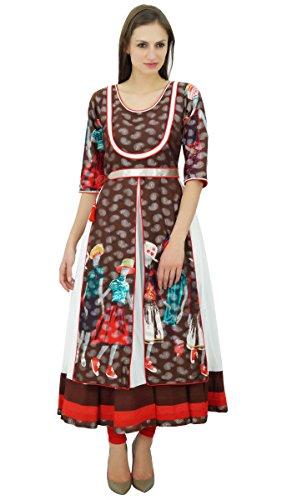 Bimba La robe de des femmes avec ceinture kurti manches 3/4 coton kurta blouse blanc et brun