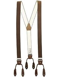 Xeira® Vintage Bretelles de haute qualité pour Femmes / Hommes à boutonnière - Cuir véritbale - Taille réglable jusqu'à 190cm - Noir, Orange, Rouge, Bordeaux, Bleu, Jaune, Vert, Orange, Neon