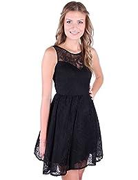 Ballerina Style Netted Tutu Lace V-Back Mini Dress Black