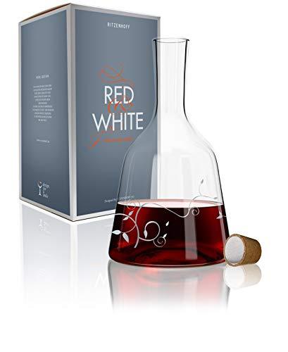 Ritzenhoff 3280002 Red & White Weinkaraffe Glas 15 x 15 x 26,7 cm, Mehrfarbig