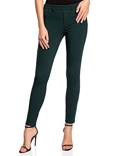 Oodji Collection Mujer Leggings Punto Bolsillos, Verde