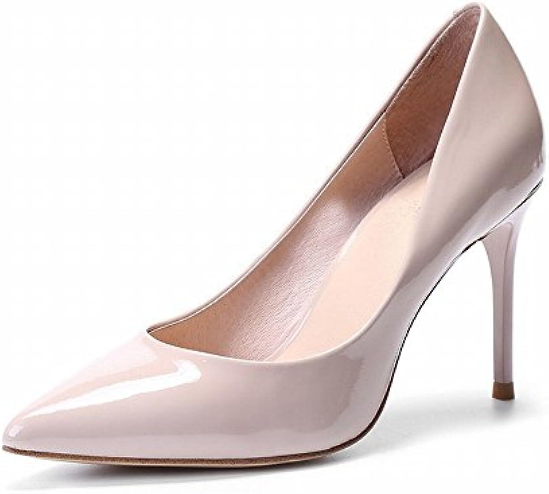 DIDIDD Punta Fina con Tacones Altos Zapatos de Trabajo de Charol de Cuero de Primavera Y Otoño Femeninos Zapatos...