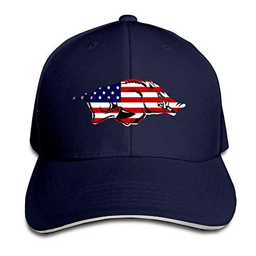 Sport-sandwich-cap (LiuFeng666 Arkansas Razorbacks National Flag Logo Sports Hat Sandwich Bill Caps)