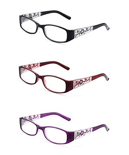 1633f9372611 design optics 3-pack reading glasses. JM 3 Pack Damen Lesebrille  Federscharnier Vintage Rechteckig Leser für Weib +3.0 Mix