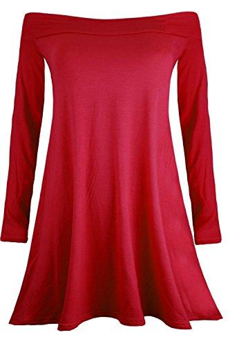 Oops Outlet - Damen Kleid Einfarbig Ausgestellt Stretch Schulterfrei Bardot Minikleid Swing Skater Kleid Übergröße Neu Rot