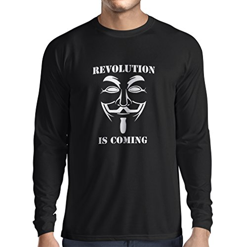 lepni.me Long Sleeve t Shirt Men The Revolution Is Coming - The Anonymous Hackers Mask, V For Vendetta