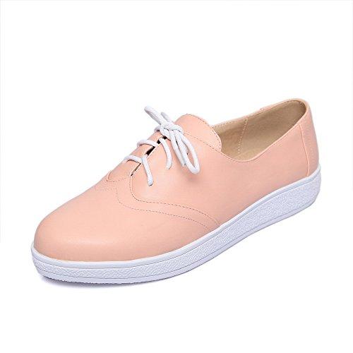 Senhoras Allhqfashion Pu Couro Salto Baixo Rodada Toe Rendas Puramente Bombas Rosa Sapatos