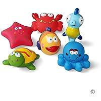 JUNSHEN Juguetes de baño(6PCS) con Gratis Bolsa de Almacenamiento, Juguetes para bebés, Juguetes para el Agua, Juguetes para el Agua y Juguetes para niños pequeños- Tortuga, Pescado, Caballos de mar